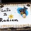Foki pojawiają się też w (lub na) prezentach od słuchaczy. Ten tort dostaliśmy na rynku w Kaliszu. Był upał ale foka się nie rozpuściła ;)
