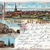 Litografia z Dąbia (Alt-Damm), dzielnicy Szczecina - 7 czerwca 1900 roku.