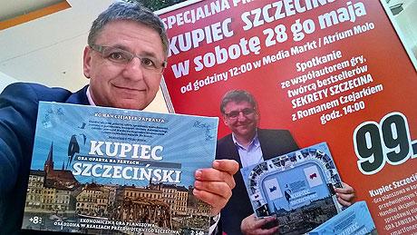 Wodowanie gry planszowej Kupiec Szczeciński. Szczecin 28 maja 2016.